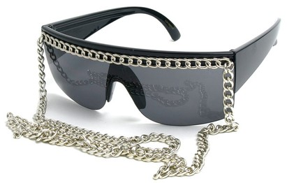 Angle of SW Celebrity Chain Style #81 in Black and Silver, Women's and Men's