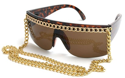 Angle of SW Celebrity Chain Style #81 in Brown Tortoise and Gold, Women's and Men's