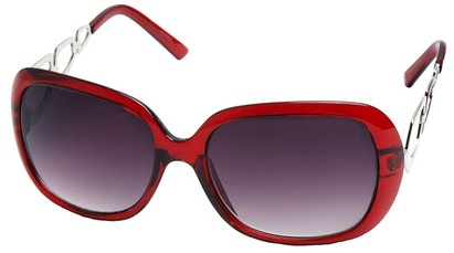 Angle of SW Oversized Style #1226 in Red Frame, Women's and Men's