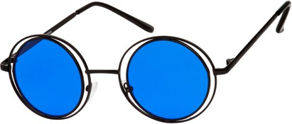 Angle of SW Round Style #4466 in Black Frame with Blue Lenses, Women's and Men's