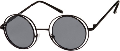 Angle of SW Round Style #4466 in Black Frame with Grey Lenses, Women's and Men's