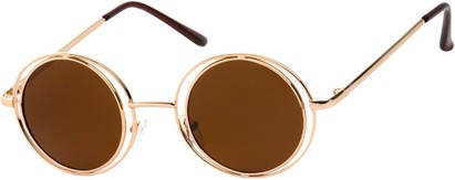 Angle of SW Round Style #4466 in Gold Frame with Amber Lenses, Women's and Men's