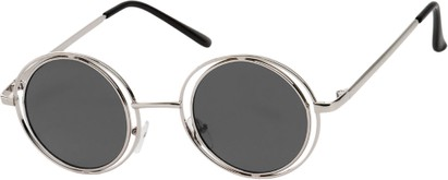 Angle of SW Round Style #4466 in Silver Frame with Grey Lenses, Women's and Men's
