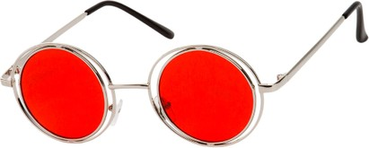 Angle of SW Round Style #4466 in Silver Frame with Red Lenses, Women's and Men's