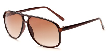 Angle of Sao Paulo #8199 in Brown Frame with Amber Lenses, Men's Aviator Sunglasses