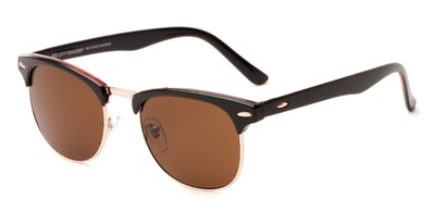 Angle of Huntington #6694 in Black/Gold Frame with Amber Lenses, Women's and Men's Browline Sunglasses