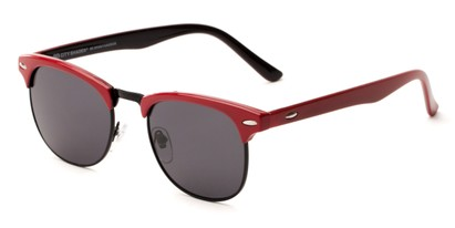 Angle of Huntington #6694 in Red/Black Frame with Grey Lenses, Women's and Men's Browline Sunglasses