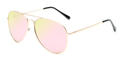 Angle of Solar #6799 in Gold Frame with Pink Mirrored Lenses, Women's and Men's Aviator Sunglasses