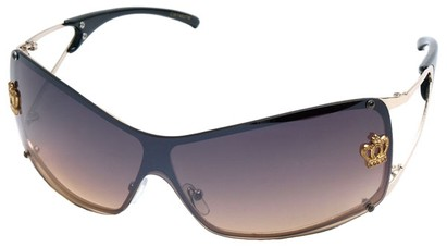 Angle of SW Shield Style #1244 in Gold/Black Frame with Amber Lenses, Women's and Men's