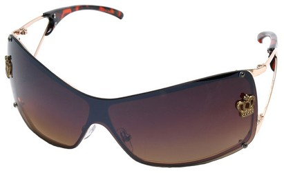 Angle of SW Shield Style #1244 in Gold/Tortoise Frame with Gold Lenses, Women's and Men's