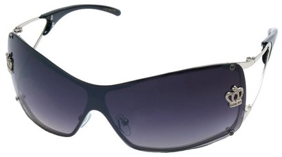 Angle of SW Shield Style #1244 in Silver Frame with Smoke Lenses, Women's and Men's