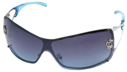 Angle of SW Shield Style #1244 in Silver Frame with Blue Lenses, Women's and Men's