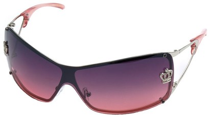 Angle of SW Shield Style #1244 in Silver Frame with Rose Lenses, Women's and Men's