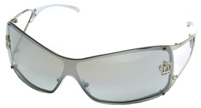 Angle of SW Shield Style #1244 in Silver Frame with Clear Lenses, Women's and Men's