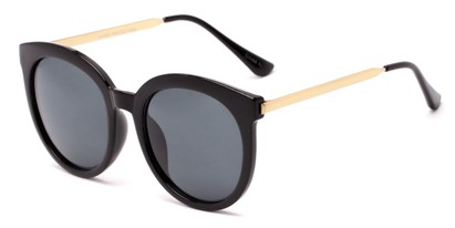 Angle of Canary #6583 in Black/Gold Frame with Grey Lenses, Women's Cat Eye Sunglasses