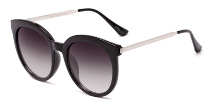 Angle of Canary #6583 in Black/Silver Frame with Smoke Lenses, Women's Cat Eye Sunglasses