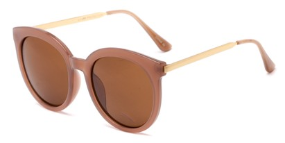 Angle of Canary #6583 in Brown Frame with Amber Lenses, Women's Cat Eye Sunglasses