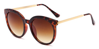 Angle of Canary #6583 in Tortoise Frame with Amber Lenses, Women's Cat Eye Sunglasses