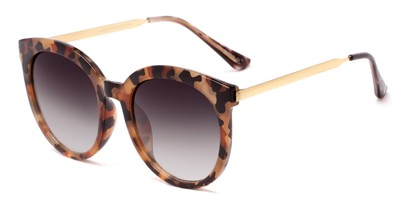 Angle of Canary #6583 in Tortoise Frame with Smoke Lenses, Women's Cat Eye Sunglasses