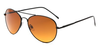 Angle of Canoe #1115 in Black Frame with Copper Lenses, Women's and Men's Aviator Sunglasses