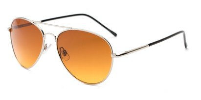 Angle of Canoe #1115 in Silver Frame with Copper Lenses, Women's and Men's Aviator Sunglasses