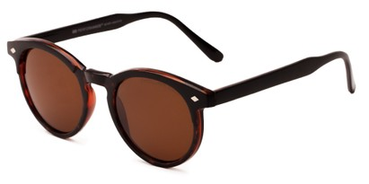 Angle of Carmine #6763 in Tortoise/Matte Brown Frame with Brown Lenses, Women's and Men's Round Sunglasses