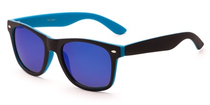 Angle of Cirrus #1448 in Black/Blue Frame with Blue Mirrored Lenses, Women's and Men's Retro Square Sunglasses