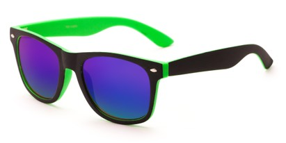 Angle of Cirrus #1448 in Black/Green Frame with Blue Mirrored Lenses, Women's and Men's Retro Square Sunglasses
