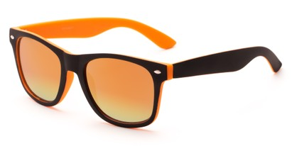 Angle of Cirrus #1448 in Black/Orange Frame with Yellow Mirrored Lenses, Women's and Men's Retro Square Sunglasses