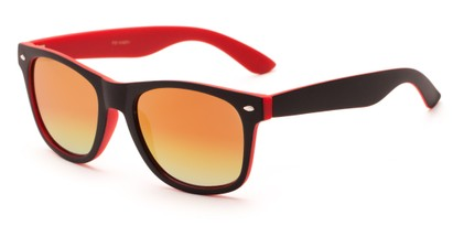 Angle of Cirrus #1448 in Black/Red Frame with Yellow Mirrored Lenses, Women's and Men's Retro Square Sunglasses