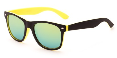 Angle of Cirrus #1448 in Black/Yellow Frame with Yellow Mirrored Lenses, Women's and Men's Retro Square Sunglasses
