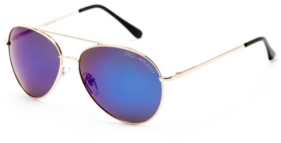 Angle of Hoosier #6901 in Gold Frame with Blue/Purple Lenses, Women's and Men's Aviator Sunglasses