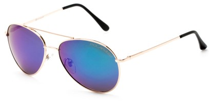Angle of Hoosier #6901 in Gold Frame with Green/Blue Lenses, Women's and Men's Aviator Sunglasses