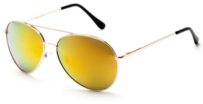 Angle of Hoosier #6901 in Gold Frame with Orange/Yellow Lenses, Women's and Men's Aviator Sunglasses