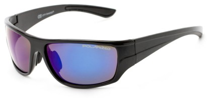 Angle of Jersey #6909 in Black Frame with Blue/Purple Multi-Color Mirrored Lenses, Women's and Men's Sport & Wrap-Around Sunglasses