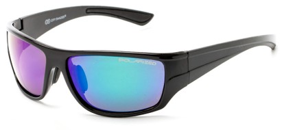Angle of Jersey #6909 in Black Frame with Purple/Green Multi-Color Mirrored Lenses, Women's and Men's Sport & Wrap-Around Sunglasses