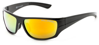 Angle of Jersey #6909 in Black Frame with Yellow/Orange Multi-Color Mirrored Lenses, Women's and Men's Sport & Wrap-Around Sunglasses