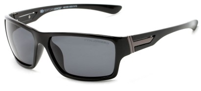 Angle of Bolt #6923 in Glossy Black Frame with Smoke Lenses, Women's and Men's Sport & Wrap-Around Sunglasses
