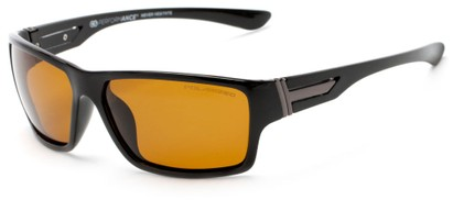 Angle of Bolt #6923 in Glossy Black Frame with Dark Yellow Lenses, Women's and Men's Sport & Wrap-Around Sunglasses