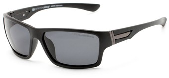 Angle of Bolt #6923 in Matte Black Frame with Smoke Lenses, Women's and Men's Sport & Wrap-Around Sunglasses