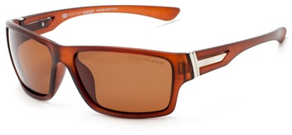 Angle of Bolt #6923 in Matte Brown Frame with Amber Lenses, Women's and Men's Sport & Wrap-Around Sunglasses