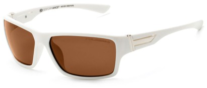 Angle of Bolt #6923 in Glossy White Frame with Amber Lenses, Women's and Men's Sport & Wrap-Around Sunglasses
