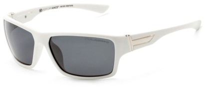 Angle of Bolt #6923 in Glossy White Frame with Smoke Lenses, Women's and Men's Sport & Wrap-Around Sunglasses