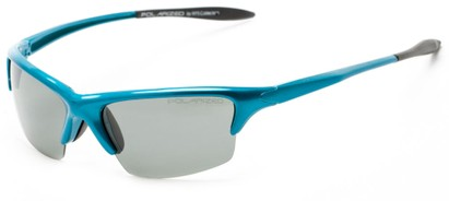 Angle of Moscow #8513 in Glossy Blue Frame with Smoke Lenses, Women's and Men's Sport & Wrap-Around Sunglasses