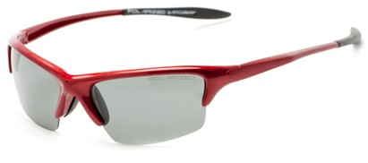 Angle of Moscow #8513 in Glossy Red Frame with Smoke Lenses, Women's and Men's Sport & Wrap-Around Sunglasses