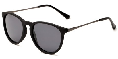 Angle of Cumberland #2861 in Matte Black Frame with Smoke Lenses, Women's and Men's Round Sunglasses