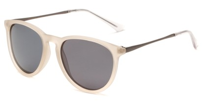 Angle of Cumberland #2861 in Matte Clear/Frost Frame with Smoke Lenses, Women's and Men's Round Sunglasses