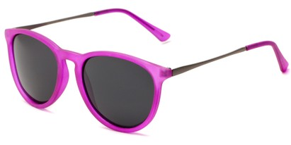 Angle of Cumberland #2861 in Matte Pink Frame with Smoke Lenses, Women's and Men's Round Sunglasses
