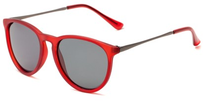 Angle of Cumberland #2861 in Matte Red Frame with Smoke Lenses, Women's and Men's Round Sunglasses