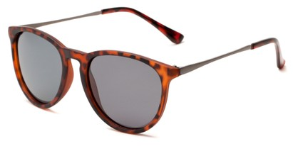 Angle of Cumberland #2861 in Matte Tortoise Frame with Smoke Lenses, Women's and Men's Round Sunglasses